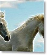 White Stallions Metal Print