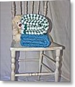White Teddy And Chair Metal Print