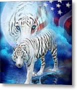 White Tiger Moon - Patriotic Metal Print