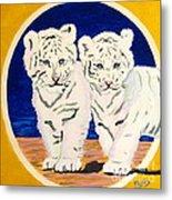 White Tiger Twins Metal Print