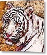 White Tiger Twist Metal Print