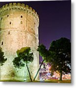 White Tower In Salonica Greece Metal Print