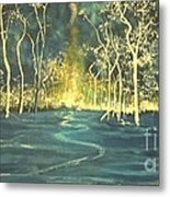 White Trees In The Blue Woods Metal Print by Stefan Duncan