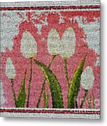White Tulips On Pink In Stained Glass Metal Print