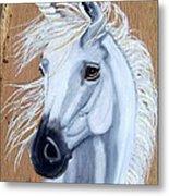 White Unicorn On Wood Metal Print