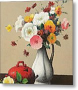 White Vase And Red Box Metal Print