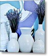 White Vases Metal Print