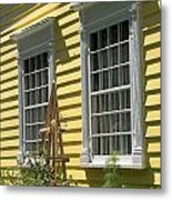 White Windows Yellow Wall Metal Print