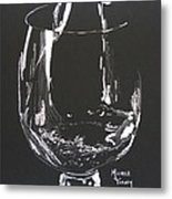 White Wine In Black And White Metal Print