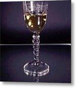 White Wine On Mirror Metal Print