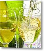 White Wine Pouring Into Glasses Metal Print