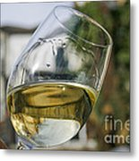 White Wine Swirling In A Glass Metal Print by Patricia Hofmeester