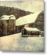 White Winter Barn Metal Print