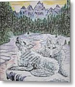 White Wolves Metal Print