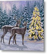 Whitetail Christmas Metal Print by Crista Forest