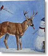 Whitetail Deer And Snowman - Whose Carrot? Metal Print