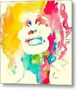 Whitney Houston Watercolor Canvas Metal Print