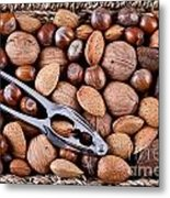 Whole Nuts In A Basket Metal Print