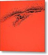 Whooper Swan Red Abstract Metal Print