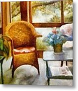 Wicker Chair And Cyclamen Metal Print