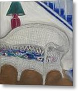 Wicker Couch Metal Print