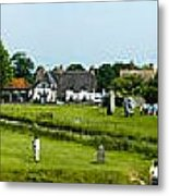 Wide Panorama Of Stone Circle Avebury Circle  Wiltshire Uk  Metal Print
