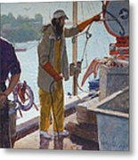 Wieghing The Catch Graymouth Metal Print