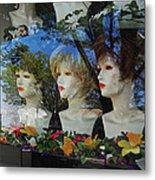 Wig Shop Window Metal Print