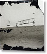 The Wright Brothers Wilbur In Motion At Left Holding One End Of Glider Metal Print