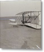 The Wright Brothers Wilbur In Prone Position In Damaged Machine Metal Print
