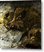 Wild Boars Running Across The Snow Metal Print