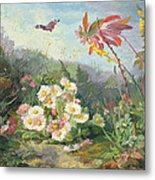 Wild Flowers And Butterfly Metal Print by Jean Marie Reignier