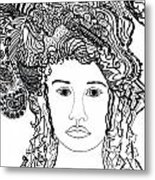 Wild Hair Portrait In Shapes And Lines Metal Print by Lenora  De Lude