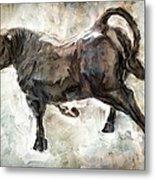 Wild Raging Bull Metal Print