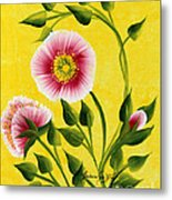 Wild Roses On Yellow Metal Print