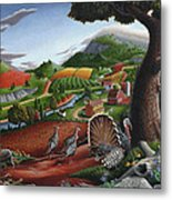 Wild Turkeys Appalachian Thanksgiving Landscape - Childhood Memories - Country Life - Americana Metal Print by Walt Curlee