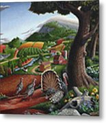 Wild Turkeys In The Hills Country Landscape - Square Format Metal Print