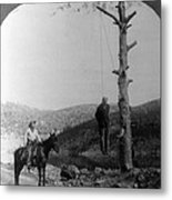 Wild West. Sheriff On Horseback Looking Metal Print
