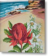 Wildflowers And Headland Metal Print
