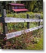 Wildflowers At The Fence Metal Print