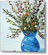 Wildflowers In A Blue Vase Metal Print