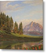 Wildflowers Mountains River Western Original Western Landscape Oil Painting Metal Print