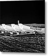 Wildwood Lifeboats At Night In Black And White Metal Print