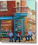 Wilensky Montreal-fairmount And Clark-montreal City Scene Painting Metal Print by Carole Spandau