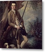 William Poyntz Of Midgham And His Dog Amber Oil On Canvas Metal Print