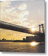 Williamsburg Bridge - Sunset - New York City Metal Print