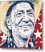Willie Nelson Pop Art Metal Print