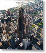 Willis Tower Chicago Aloft Metal Print by Steve Gadomski