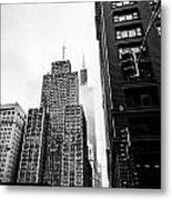 Willis Tower In The Clouds - Black And White Metal Print
