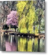 Willow And Cherry By Lake Metal Print